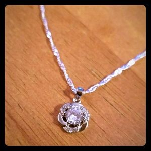 Silver Flower Crystal Necklace